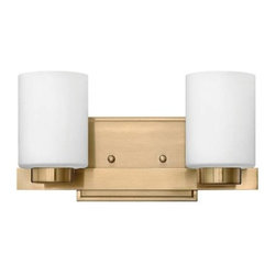 Hinkley - Hinkley 5052BC Miley 2 Light Bathroom Fixture in Brushed Caramel 5052BC - 2 Light Bathroom Fixture.With white etched glass, cast stepped back plate and cast glass holders G9 Halogen Bulb (included)Back Plate Height: 4-1 2 Back Plate Width: 6-1 2 Bulb Type: Halogen Certification: c-UL-us Damp Collection: Miley Energy Star Compliant: No Extension: 5-1 2 Finish: Brushed Caramel Glass: Etched Opal Glass Height: 6 Light Direction: Up Down Lighting Max Wattage: 60 Number of Lights: 2 Shade Shape: Cylinder Socket 1 Base: G-9 Socket 1 Max Wattage: 60 Style: Contemporary Modern Suggested Room Fit: Bathroom, Bedroom TTO: 3-3 4 Voltage: 120 Weight: 4.14 Width: 13
