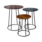 Moe's Home Collection Metal End Table - Black - Set of 3 - Round out your living room ensemble with this Moe's Home Collection Metal End Table - Black - Set of 3. Each of the three tables in this set is crafted with a durable iron base and topped with a round engineered wood top finished in a different - but complementary - neutral shade and distressed for well-worn, industrial character. Includes a one-year warranty against manufacturer defects; for more information, contact customer service at (800) 967-9942.About Moe's Wholesale Inc.Moe's Wholesale Inc. believes that taking care of its customers is the first priority in good business. Second is to have quality plus design as a trademark for the company. Over the years, Moe's has increased its use of eco-friendly materials including reclaimed woods and bamboo, a way to make customers happy while keeping Mother Nature just as happy. Drop shipping, freight programs, and outstanding customer service has made Moe's a frontrunner in the industry and its owners and staff are continually looking for ways to improve the connections between quality products and customer satisfaction.