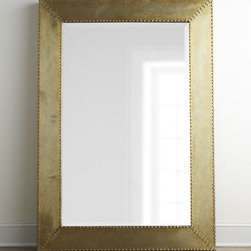 "Horchow - Rashane Metal Mirror - Modern metal-framed mirror adds a hard sheen to your decor for great contrast with a soft leather sofa or airy white bed linens. Made of aluminum with nailhead trim. Hand-painted silver-champagne finish. Mirror has a 1.25""bevel. May be hung on wall...."