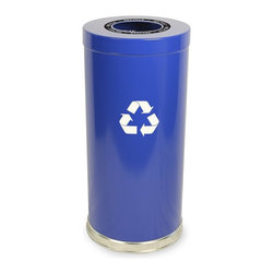 Witt Industries - Witt Industries Single Opening 24 Gallon Blue Recycling Bin - 15RTBL-1H - Shop for Recycling Bins from Hayneedle.com! Additional FeaturesDurable steel construction24-gallon recycling binIncludes recycling labels to clearly mark your binLid is easy to put on and lift offMake recycling in the workplace quick and easy with the Witt Industries Single Opening 24-Gallon Blue Recycling Bin. Its bright blue color is easy to spot while the single opening lid makes walk-by recycling easy. With labels to clearly mark the container as a recycling bin you'll have no problem instituting a recycling program at work. Made from durable steel this bin is designed for bottles cans glass paper or plastic and has an easily removable lid along with a plastic liner to simplify the recycling process. With a 24-gallon capacity this bin measures 15W x 32H inches.About Witt IndustriesWith its rich and established history in the steel waste receptacle manufacturing industry that dates back to 1887 Witt Industries has been in the forefront with its innovation quality and service. The company's founder George Witt invented and patented the first corrugated galvanized ash can and lid back in 1889 and the company has never looked back. Today Witt Industries is part of the Armor Metal Group and is a woman-owned business.
