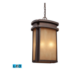 ELK - ELK 42143/2-LED Outdoor Pendant - Simplicity Of Craft And Form Gives The Sedona Collection A Very Attractive Look Through Its Minimalist Approach.  Inspired By The Architecture And Casual Lifestyle Of The Desert Southwest, This Collection Features Clean Lines With Recessed Edges, Caramel Beige Glass, And A Clay Bronze Finish. - LED, 800 Lumens (1600 Lumens Total) With Full Scale Dimming Range, 60 Watt (120 Watt Total)Equivalent , 120V Replaceable LED Bulb Included