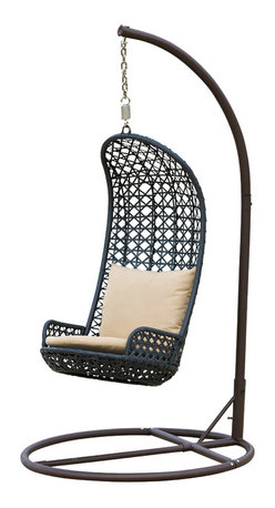 Great Deal Furniture - Brinkley Outdoor Brown Wicker Swinging Chair - Enjoy your yard with this fun Brinkley outdoor swinging chair. Built from thick brown all-weather meshed wicker, this unique piece is a great addition for your backyard or patio, complete with beige pillows for extra comfort. This wicker chair is weather and UV resistant.