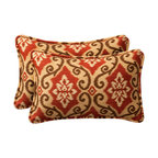 Pillow Perfect - Decorative Red/Tan Damask Toss Pillow Rectangle  Set of Two - - Red/Tan  - 100% Polyester  - 100% Virgin Recycled Polyester Fill  - Self-Cord Edge  - Fade Resistant Mildew Resistant UV Protection Water Resistant Weather Resistant  - Made in USA Pillow Perfect - 387048