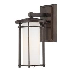 Minka Lavery - Minka Lavery Outdoor 72311-615B Addison Park Dorian Bronze 1 Light Wall Sconce - Etched Opal Glass Shade