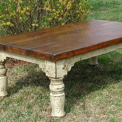 "Stockton Coffee Table - The piece is basically a ""mini"" Stockton Farm Table. A hand painted base with hand turned legs are joined at the apron with square pegged mortise and tendon joints and it is topped with a hand planed, stained and distressed top. This beautifully ""chunky"" little table has lots of charm and practically."