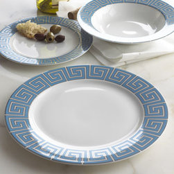 Jonathan Adler - Jonathan Adler Four Greek Key Dinner Plates - Dinnerware is made of glazed white porcelain with blue and platinum accents. Top-rack dishwasher safe. From Jonathan Adler. Imported.