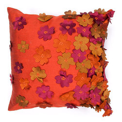 Jaipur - Portabella Orange and Purple 18-Inch Square Pillow - - Inspired by the bohemian European craft techniques of the 60�s this funky range of pillows in poly dupione use rich jewel tones expressed in a highly textural and fun way. Perfect for a touch of retro glamour in your home  - Cleaning and Care: Remove the throw pillow's cover if it is removable. Wash the cover separately from the pillow. Pre-treat badly soiled or stained areas on the pillow cover with a color-safe prewash spray. Rub the spray into the stain with a damp sponge. Wash the pillow cover or the whole pillow on a gentle-wash cycle in warm water with a very mild detergent. Detergent for delicate fabrics or baby clothes is usually suitable. Remove the pillow or pillow cover as soon as the washing machine has ended the cycle and has shut off. Hang the pillow or cover up to dry in a well-ventilated area. If the care label specifies that the item is dryer-safe place the pillow or pillow cover in the dryer and tumble dry on low heat. Fluff the pillow once it is dry in order to maintain its form. Don't use the pillow until it is completely dry. Damp pillows will attract dirt more easily  - Construction: Handmade  - It is Sustainable Jaipur - PLC100103