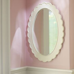 Scallop Mirror - This understatedly breathtaking oval mirror adds grace to any little girl's room. Quality construction pairs with unusual scalloped edging to make this a beautiful option for a blank wall, or above a changing station or older girl's vanity.
