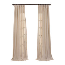 "Exclusive Fabrics & Furnishings, LLC - Hilo Natural Linen Blend Solid Curtain - 5% Linen & 95% Polyester Blend. 3"" Pole Pocket with Hook Belt & Back Tabs. Unlined . Imported. Weighted Hem. Dry Clean Only."