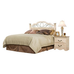 Standard Furniture - Standard Furniture Seville 2-Piece Panel Headboard Bedroom Set - Seville offers a warm blend of soft tones and granite color illustrate the European Country style of this collection. Wood products with simulated wood grain laminates. This group may contain plastic parts. Metal is used for the grills. Drawers offer roller side drawer guides allowing for easy operation. Drawer stops are included for safety. Bail pulls and knobs with simulated pewter color finish. Old fashioned wood color and simulated Jura granite. Surfaces clean easily with a soft cloth.
