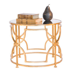 "Worlds Away - Worlds Away Round Coktail Table with Antique Mirror Top-Available in Two Differe - This lovely cocktail table features a low design and is great to use in pairs in front of a sofa. The table comes in a Gold Leaf or Nickel Plated finish and has an antique mirror top. It measures 20"" in diameter X 16""H."
