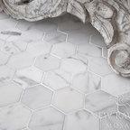 Hex Stone Mosaic - 7 cm Hex shown in Statuary Carrara honed.