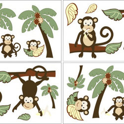 Sweet Jojo Designs - Monkey Wall Decal Set of 4 Sheets by Sweet Jojo Designs - The Monkey Wall Decal Set of 4 Sheets by Sweet Jojo Designs, along with the bedding accessories.