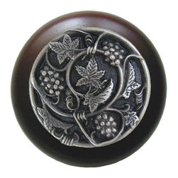 Wine Enthusiasts - Grapevines Walnut Wood Knob in Antique Pewter