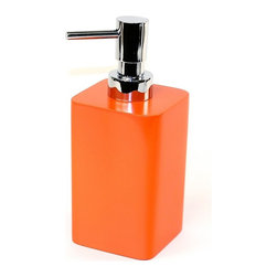 Gedy - Free Standing Soap Dispenser, Orange - Free standing soap dispenser made of thermoplastic resin and available in 7 beautiful colors - silver, blue, black, orange, ruby red, gold, and lilac. Pump is made of brass in a chrome finish. Perfect for modern settings.