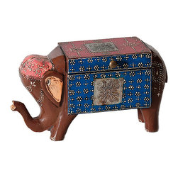 Everybody's Ayurveda - Carved Elephant Decorative Accent in Wood and Metal - Decorative Carved Elephant Box. Top opens to reveal storage space perfect for holding remotes. Hand-painted wood and metal. Each box is handcrafted in India and will vary slightly in color and craftsmanship, making yours a true original. Colorful with personality, perfect for adding personality to your living space! Great for storing TV remotes!Package Includes:Elephant Decorative Accent OnlyDimensions:Length: 11 inch