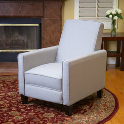 Lucas Grey Recliner Club Chair - Our Lucas Grey Fabric Recliner Club Chair provides additional seating any room. Well-padded cushions and arms means a comfortable seating experience at any time. With a strong hardwood frame, you'll find the chair a solid addition to any room that will last for years to come.