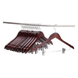 J.S. Hanger - J.S. Hanger®Solid Gugertree Wooden Pant Hanger Walnut Polished(Set of 20) - Feature: