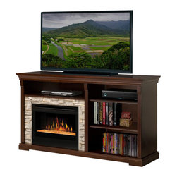 Dimplex - Dimplex Edgewood Electric Fireplace Entertainment Cabinet in Espresso - Dimplex - TV Stands - GDS25G1269E - Charming and practical layout of this entertainment cabinet brings warmth to any room. An asymmetrical appearance adds interest while yet providing ample open shelf storage for the array of electronic components. The Edgewood provides a nice blend of old world charm and practically while address needs of todays media requirements.Light shines and reflects off the asymmetrical-sized glass pieces creating an effect that is as alluring as it is contemporary.