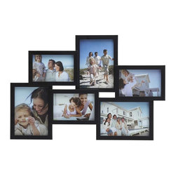 Melannco - Melannco Black 6 OPG Collage - This Melannco 6-Opening Black Collage Frame is a fun way to group your photos together and display them on a wall. The frame can be hung vertical or horizontal for a unique look.
