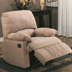 Coaster - 600264 Recliner - Light Brown - Introduce casual style and unsurpassed comfort into any room of your home with the remarkable chairs featured in this recliner collection. Soft durable microfiber seating make this recliner the perfect choice for style and comfort.