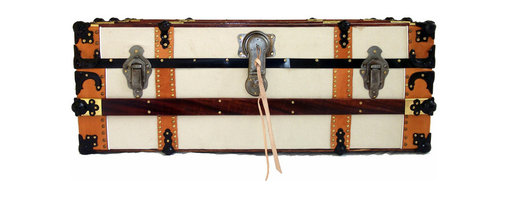 "Canvas Cabin Trunk - Wide body steamer trunk, also known as a ""cabin trunk"". Recovered in 100% heavyweight, off-white cotton duck canvas. All original hardware, including working lock and key."