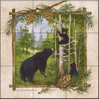 The Tile Mural Store (USA) - Tile Mural -  Bear Family  - Kitchen Backsplash Ideas - This beautiful artwork by Anita Phillips has been digitally reproduced for tiles and depicts a framed bear.    A bear tile mural would be perfect as a part of your kitchen backsplash tile project or your tub and shower surround bathroom tile project. Bear images on tile make a great kitchen backsplash idea and are excellent to use in the bathroom too for your shower tile project. Consider a tile mural with bear pictures for any room in your home where you want to add wall tile with interest.