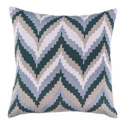 Surya - Surya Ice Blue Zig Zag Pillow -