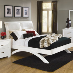 Woodbridge Home Designs - Astrid Platform Bed - Trendy and modern, flair to any contemporary bedroom. From the espresso finish to the accenting bi-cast vinyl insert on the headboard or chrome hardware, this collection exudes the attitude that defines the style. Features: -Bold so lid hardwood arched legs support the platform bed.-Recessed beveled edging cleanly frames each case piece.-Astrid Collection.-Powder Coated Finish: No.-Gloss Finish: No.-Finish: White.-Frame Material: Wood; Manufactured wood -Frame Material Details: Poplar and MDF..-Solid Wood Construction: No.-Upholstered: No.-Number of Items Included: 3.-Non Toxic: Yes.-Scratch Resistant: No.-Joinery Type: Groove.-Mattress Included: No.-Recommended Mattress Height: 8.-Headboard Storage: No.-Footboard Storage: No.-Underbed Storage: No.-Slats Required: Yes -Number of Slats Required: 3.-Slats Included: Yes..-Center Support Legs: Yes.-Adjustable Headboard Height: Yes.-Adjustable Footboard Height: No.-Wingback: No.-Trundle Bed Included: No.-Attached Nightstand: No.-Cable Management: No.-Built in Outlets: No.-Lighted Headboard: No.-Finished Back: No.-Reclaimed Wood: No.-Number of Center Support Legs: 2.-Distressed: No.-Bed Rails Included: Yes.-Collection: Astrid.-Eco-Friendly: Yes.-Recycled Content: Yes -Total Recycled Content (Percentage): 80%.-Post-Consumer Content (Percentage): 15%.-Remanufactured/Refurbished : No..-Wood Moldings: No.-Canopy Frame: No.-Hidden Storage: No.-Jewelry Compartment: No.-Weight Capacity: 450.-Swatch Available: No.-Commercial Use: No.Specifications: -FSC Certified: No.-EPP Compliant: Yes.-CPSIA or CPSC Compliant: No.-CARB Compliant: Yes.-JPMA Certified: No.-ASTM Certified: No.-ISTA 3A Certified: No.-PEFC Certified: No.-General Conformity Certificate: No.-Green Guard Certified: No.Dimensions: -Overall Height - Top to Bottom (Size: California King): 53.-Overall Height - Top to Bottom (Size: King): 53.-Overall Height - Top to Bottom (Size: Queen): 53.-Overall Width - Side to Side (Size: