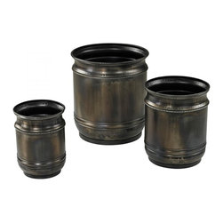 Sterling Industries - Set Of 3 Oxidised Finish Planters - Set Of 3 Oxidised Finish Planters