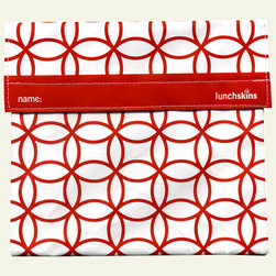 Lunchskins Sandwich Bag, Large, Red Mosaic - Here's a nice sandwich bag to take along on a romantic picnic.