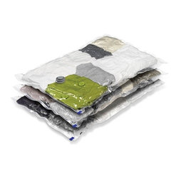 "3-Pack Large Vacuum-Packs - Honey-Can-Do VAC-01300 3-Pack Large Vacuum-Packs (21.25""x33.5"").  Vacuum-Packs are vacuum sealed storage bags designed for compacting and storing everything from seasonal clothing to linens. Simply place your items into the bag, attach any hose-style vacuum cleaner, and watch as the air is removed and items compress into a smaller, manageable pack. Honey-Can-Do Vacuum-Packs protect your stored items from dirt, insects, and moisture keeping contents fresh and damage-free. These units are reusable making them an excellent value. Let Honey-Can-Do help you get organized today."
