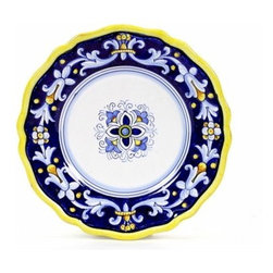 Artistica - Hand Made in Italy - Antico Deruta: Salad Plate - Antico Deruta Collection: Throughout the years, our Antico Deruta collection has been always considered the most formal depiction of the Ricco Deruta pattern. Its classic Arabesque decorative pattern is composed of rhythmic, curvilinear designs painted in a unique combination of regal blue and bright yellow. The foliated scrollwork motif featured in this collection was also employed in the architectural decorations of late Roman and Renaissance periods.
