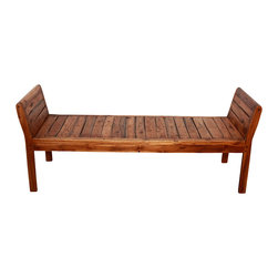 Kammika - Inlay Bench Farmed Teak 63 x 20.5 x 25 inch Ht w Eco Friendly Livos Chestnut Oil - Our Sustainable Farmed Teak Wood Inlay Bench, 63 inch Length x 20.5 inch Depth or Width x 25 inch Height with Eco Friendly, Natural Food-safe Livos Chestnut Oil Finish features a beautiful recliner seat to while away the hours by a window. Use these extremely handsome eco friendly, sturdy and versatile functional art pieces indoors or outdoors. Eco friendly, water resistant and food safe Livos Chestnut Oil is rubbed to a matte finish creating rich dark brown tones with medium reddish (chestnut). Classic lines made with sustainable Farmed Teak that exposes the natural grain of the logs present an extremely attractive, sturdy, versatile, eco friendly functional art piece. Crafted from dense Farmed Teak; water flows off easily; these eco friendly functional art pieces are great for spas, pools, and other wet. You can use this hand crafted this sturdy bench to set up an indoor or outdoor shower or bathing area. They are also great for in home spa set ups and swimming pool rinse off areas. We make minimal use of electric hand sanders in the finishing process. All products are dried in solar or propane kilns. No chemicals are used in the process, ever. All products finished by hand rubbed oils. We use only certified Green Livos oils - eco friendly, all natural, water resistant, and food-safe - from Germany. Each eco friendly functional art piece is kiln dried, sanded, hand rubbed with eco friendly all natural Livos Chestnut Oil; and then they are packaged with cartons from recycled cardboard with no plastic or other fillers. As this is a natural product, the color and grain of piece of Nature will be unique, and may include small checks or cracks that occur when the wood is dried. Sizes are approximate. Products could have visible marks from tools used, patches from small repairs, knot holes, natural inclusions or holes. There may be various separations or cracks on your piece when it arrives. There may be some slight variation in size, color, texture, and finish color.Only listed product included.