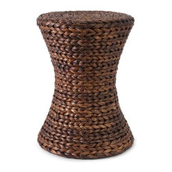 iMax - Salton Banana Leaf Ottoman - In an hourglass shape, woven banana leaves create the natural look of the Salton ottoman. Great for use as a side table, this ottoman adds a warm honey tone to any room.