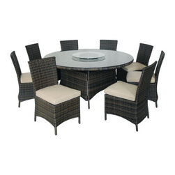 Kontiki - Kontiki Dining Sets - Wicker Large (Ideal for 8 or More Seats) - [1.0 set/set]      Kontiki assembled patio furniture sets are made from all-weather resin wicker and produced to fulfill your needs for high quality. Unlike many other wicker products on the market, resin wicker will not fade, shrink, loose its strength or snap. Another advantage of this material is its high resistance against sunlight and water. It has especially been improved to withstand North American weather.    The aluminum is lightweight and rust-free. The cushions that come with the patio sets underline the elegance of all Kontiki patio furniture while providing permanent comfort. The cushions come with covers that are specially treated with liquid resistant coatings and are hand washable.    Due to the high quality materials used, Kontiki patio furniture sets can be left outside in any weather or season, although it is recommended to cover the furniture in the winter months. Each and every piece is checked to ensure quality standards are met. It is ideal for both domestic and commercial use. All patio sets come with a two year warranty, although, the expected life of Kontiki Patio Furniture sets before they start losing the original look is 7-8 years.
