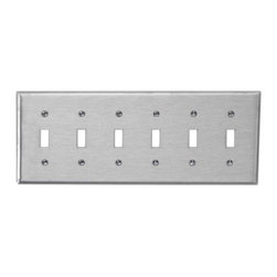 Renovators Supply - Switchplates Brushed Stainless Steel Six Toggle Switch Plate - Switchplates: It only takes a moment to reinvigorate a room with these Stainless Steel wallplates.