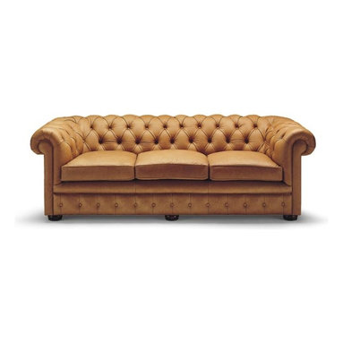 """Liz Ann's Interior Design Boutique - This traditional three cushion chesterfield style sofa is beautifully crafted with tufted buttons and rolled arms built for comfort.  Available in Appaloosa Chestnut leather.  Choose from a selection of beautiful wood finishes.  Legs: Bunn.  Outside Dimensions: 31Hx90Wx37D.  Inside Dimensions: 14Hx68Wx22D.  Seat Height: 20"""".  Arm Height: 31""""."""