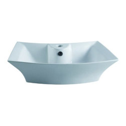 Kingston Brass - White China Vessel Bathroom Sink with Overflow Hole & Faucet Hole EV4337 - The square-shaped basin of the Courtyard vessel sink is defined by its sharp, skewed curves and skewed outlines made from strong vitreous china.  The outer basin complements the curved design of the inner basin giving a distinctive look to your bathroom. A single-hole drilling is mounted on the small faucet deck with a overflow hole drilled in the front for drainage.Manufacturer: Kingston BrassModel: EV4337UPC: 663370097621Product Name: White China Vessel Bathroom Sink with Overflow Hole & Faucet HoleCollection / Series: CourtyardFinish: WhiteTheme: Contemporary / ModernMaterial: CeramicType: SinkFeatures: Finest vitreous china vessel with high chemical and thermal shock resistance