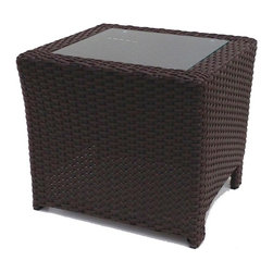 Wicker Paradise - Sanibel Wicker End Table With Glass - This richly dark and textured wicker end table is the perfect compliment to your outdoor wicker patio furniture collection. The square table is inset with glass and built on an aluminum frame for total outdoor use.