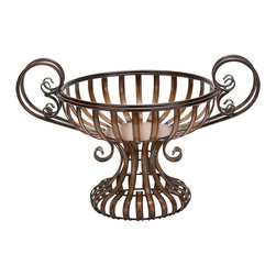 Benzara - Metal Bowl with Elevated Base - If you are looking for best value of your money invested for home decor, bring home 74378 METAL BOWL that has great utility decor potential for each family. It can be placed anywhere to store goods of daily use. It comes with elevated base. Get ready to impress the guests by sensible interior decoration and use of small space.