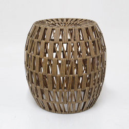 Woven Basket Stool - A warm neutral color and woven basket texture gives this stool its natural appeal. Dress it up with a seat cushion in a rich jewel tone for extra seating, or use as a footrest after a long day's commute.