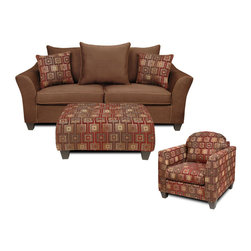 Chelsea Home Furniture - Chelsea Home Kendra 3-Piece Living Room Set in Victory Chocolate/Brancusi Ruby - Kendra 3-Piece living room set in victory chocolate/Brancusi ruby with victory sepia welt belongs to Liberty collection by Chelsea Home Furniture