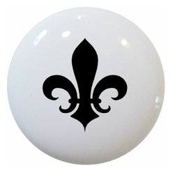 Carolina Hardware and Decor, LLC - Black Fleur De Lis Ceramic Knob - New 1 1/2 inch ceramic cabinet, drawer, or furniture knob with mounting hardware included. Also works great in a bathroom or on bi-fold closet doors (may require longer screws). Item can be wiped clean with a soft damp cloth. Great addition and nice finishing touch to any room!