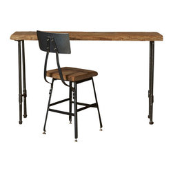 """Urban Wood Goods - Urban Industry Mini Desk - Decorating a small studio apartment? At Urban Wood Goods we know that furnishing a small apartment can be a challenge with standard sized furniture. Our small desk made of salvaged old growth wood slabs and pipe legs has just enough room to fit your laptop, and incidentals and has a drawer or keyboard tray option. Let us show you how to decorate a small apartment with sustainable urban decor as a focus. Wood Top Thickness: Standard: 1.65"""" or Thick 2.5"""""""