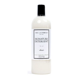 Signature Detergent - 33.3 oz - Signature Detergent by The Laundress is a liquid laundry soap that comes highly recommended for caring for quality garments and luxury home goods.  Suitable for either machine- or hand-washing, non-toxic Signature Detergent includes a bleach alternative which is color-safe for most fabrics and dyes, as well as scientifically researched stain-lifting agents.  However, it is formulated to be free of chemicals that may be unsafe for your fine household linens, giving you the means to care for many of your heirloom fabrics safely at home.