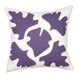 Balanced Design - Hand Printed Linen Pillow - Shade, Purple, 16 x 16 - This pillow's leaf silhouettes are like the shadows of leaves on a sunny sidewalk, putting a modern, graphic twist on a classic nature theme. The design is hand-printed on linen using water-based inks, and the pillow insert is made with fiber from recycled plastic bottles, giving you a product that's both stylish and earth-friendly.
