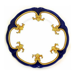 Artistica - Hand Made in Italy - GIGLIO D'ORO: Charger Buffet Platter - GIGLIO D'ORO Collection: Another elegant dinnerware design masterfully hand painted in Deruta, Italy, featuring a fine and intricate design from the renaissance period featuring a regal yellow-gold Giglio (Lily) painstakingly countered by a royal blue solid color, a fine and intricate design exclusively available in the USA only throughout Artistica!
