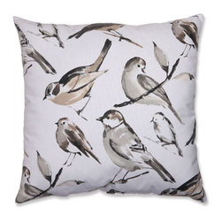 Bird Watcher Charcoal, Black, Taupe Pillow - - Pillow Perfect Bird Watcher Charcoal 23-inch Floor Pillow  - Sewn Seam Closure  - Spot Clean Only  - Finish/Color: Charcoal/Black/Taupe  - Product Width: 23  - Product Depth: 23  - Product Height: 5  - Product Weight: 2.5  - Material Textile: Cotton/Poly Blend  - Material Fill: 100% Recycled Virgin Polyester Fill Pillow Perfect - 512389
