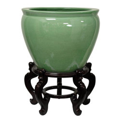 "Oriental Furniture - 20"" Celadon Porcelain Fishbowl - Glazed in a fine, pale jade celadon green, it's both a beautiful accent to your decor and a useful extra-large planter. Finding authentic celadon glazed ceramics can be difficult in the U.S., as is finding fishbowls as large as this one and stands large enough to display them."